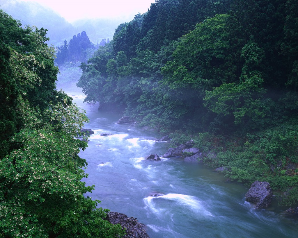 Mist at Tone River ca. 2000 Minakami, Gumma Prefecture,  Japan